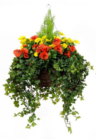 Artificial Silk Pansy Deluxe Large Hanging Basket Just Artificial