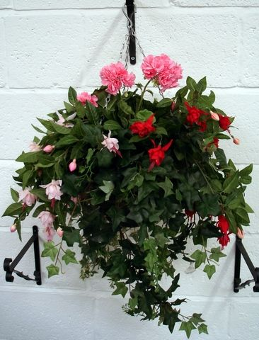 artificial silk fuchsia hanging basket just artificial. Black Bedroom Furniture Sets. Home Design Ideas