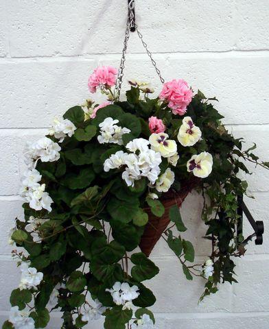 artificial silk flower cone hanging basket just artificial. Black Bedroom Furniture Sets. Home Design Ideas