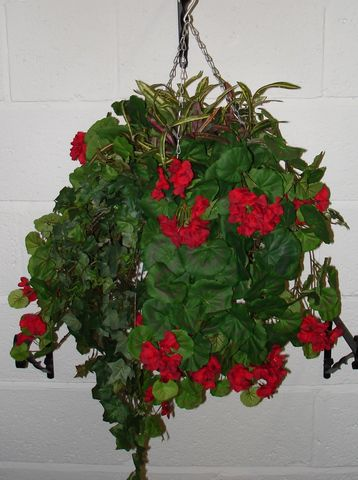 Geranium Large Silk Hanging Basket Just Artificial
