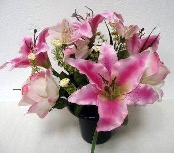 Tiger Lily/Rose/Alstroemeria Cemetery Pot