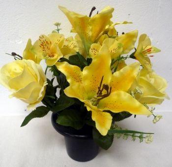 Tiger Lily/Rose/Alstroemeria Cemetary Pot
