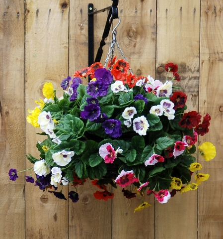 artificial silk pansy ball hanging basket just artificial. Black Bedroom Furniture Sets. Home Design Ideas