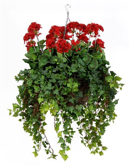artificial silk geranium deluxe hanging basket just. Black Bedroom Furniture Sets. Home Design Ideas