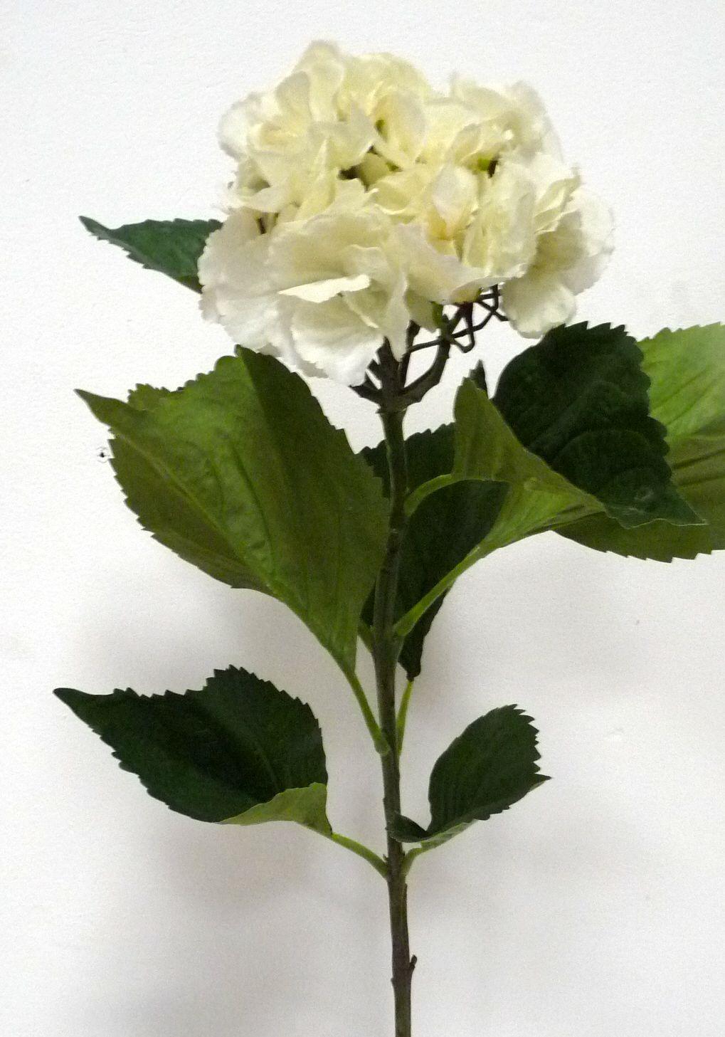 Artificial large silk hydrangea single stem just artificial gorgeous large hydrangea silk flower showing stem and leaves mightylinksfo