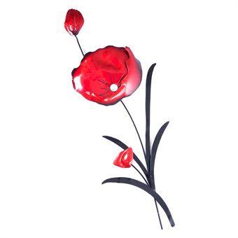 Red Poppy & Black Leaves Wall Art