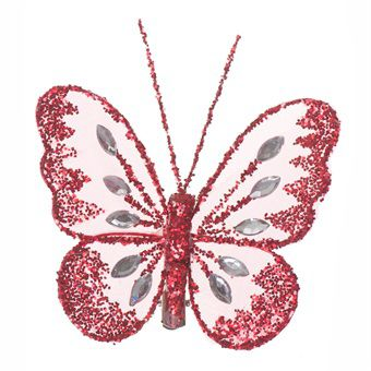 Mesh Glittered Clip On Butterfly