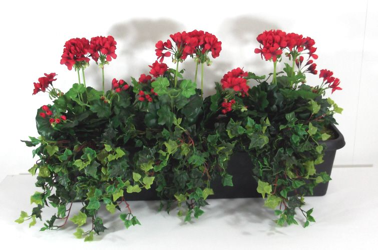 Artificial geranium potted trough just artificial for Geranium artificiel jardiniere