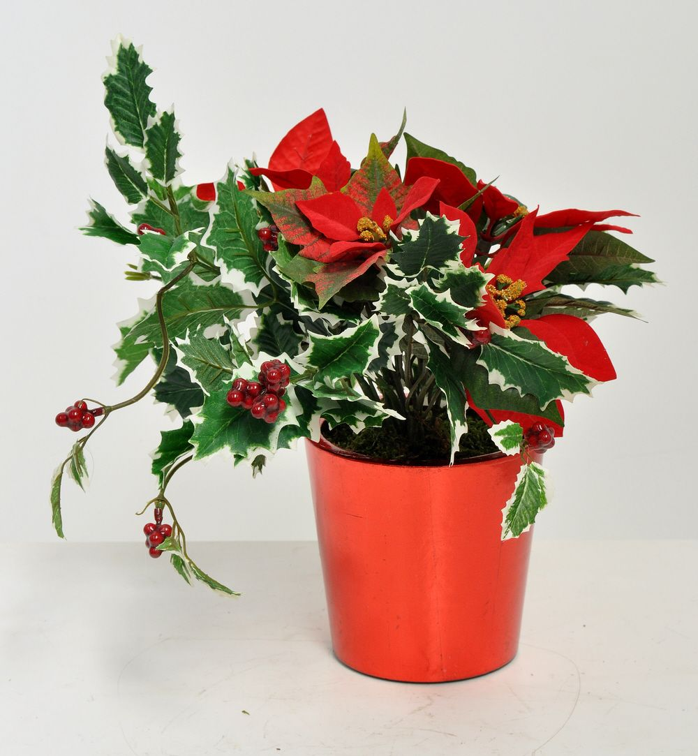 Artificial red poinsettia arrangement in a viet silver for Poinsettia arrangements