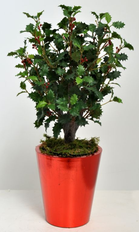 Artificial Red Holly Bush Arrangement In A Viet Planter