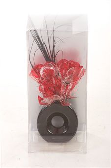 showing the artificial Rose floral display in the PVC gift box, as supplied