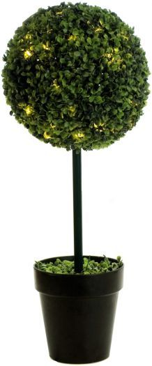 Boxwood Single Ball Topiary Tree with LED Lights