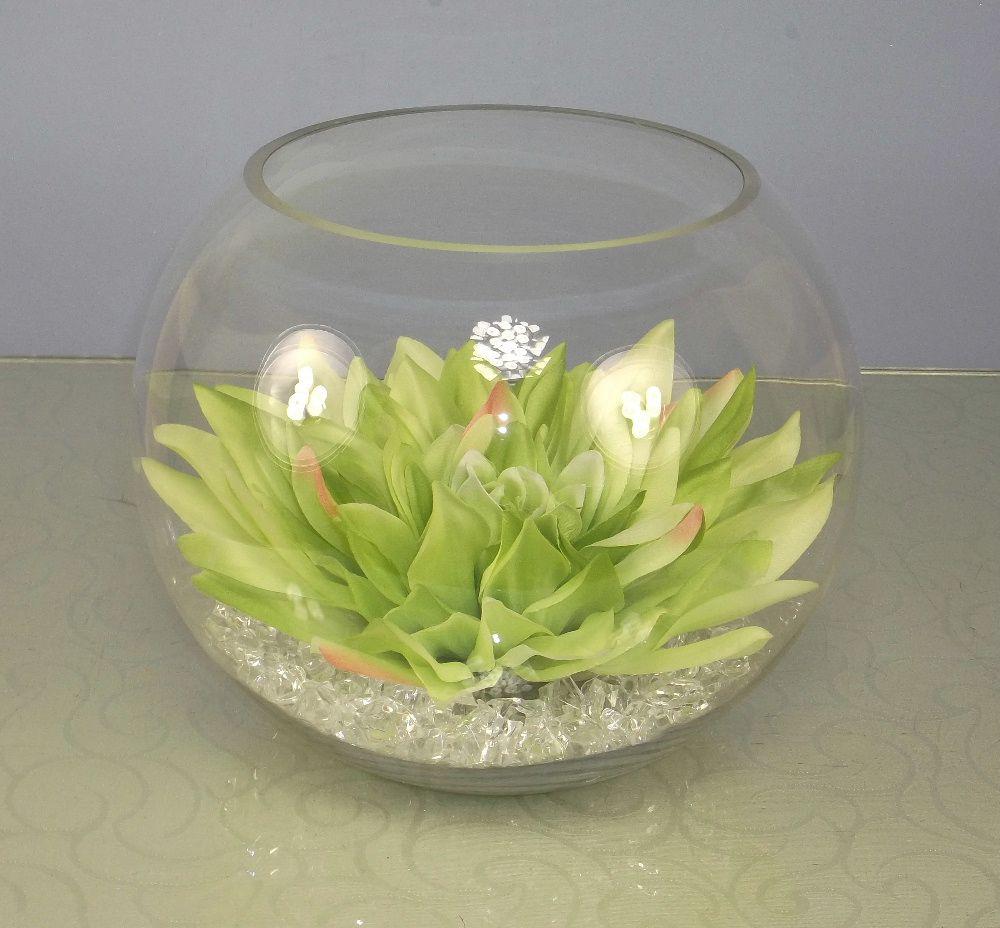 Artificial silk dahlia head in a clear glass fish bowl for Glass fish bowl