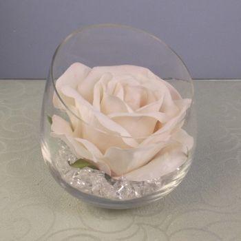Rose in Chisle Top Vase & Crystals