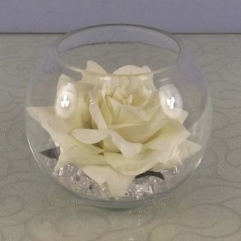 Open Rose Head in a clear Glass Fish Bowl with Crystals