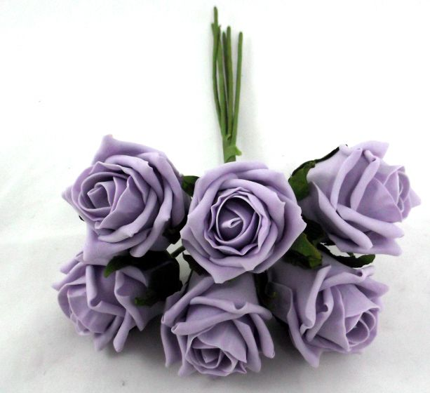 our artificial Cottage Rose Bud Bunch in Ice Lilac colour