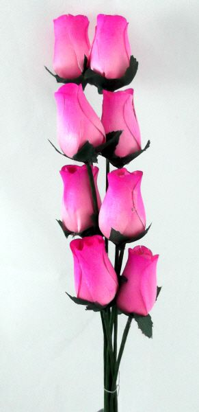 our artificial Wooden closed Rose Buds in two tone pink