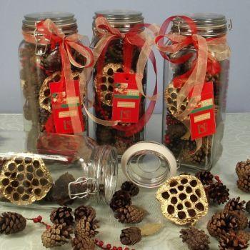 Scented Festive Cones in Vintage Jar