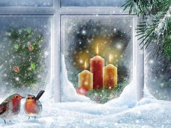 Snowy Christmas Candle LED Canvas
