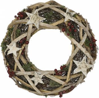 Natural Birch Wreath with Stars