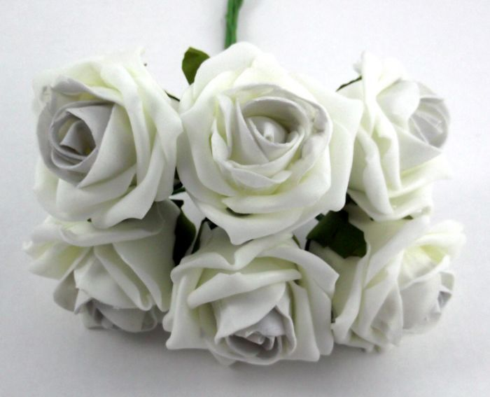 Cottage Rose Bud Bunch - 21cm, Ivory with Silver