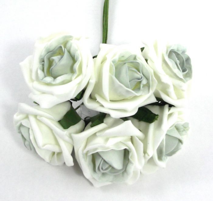 Artificial Colourfast Rose Bud Bunch - 21cm, Ivory with Sage