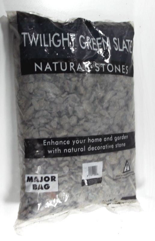 Twilight Slate Chippings - Showing in bag - note these are NOT Green as per the packaging text, they are a Grey as per our images.