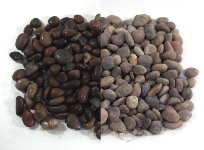 Scottish Beach Pebbles - Shown when wet (left) and Dry (right)