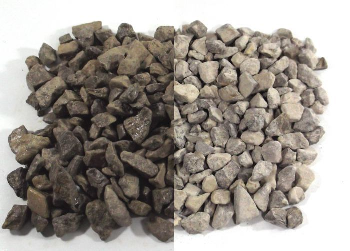 Limestone Chippings - Shown when wet (left) and dry (right)