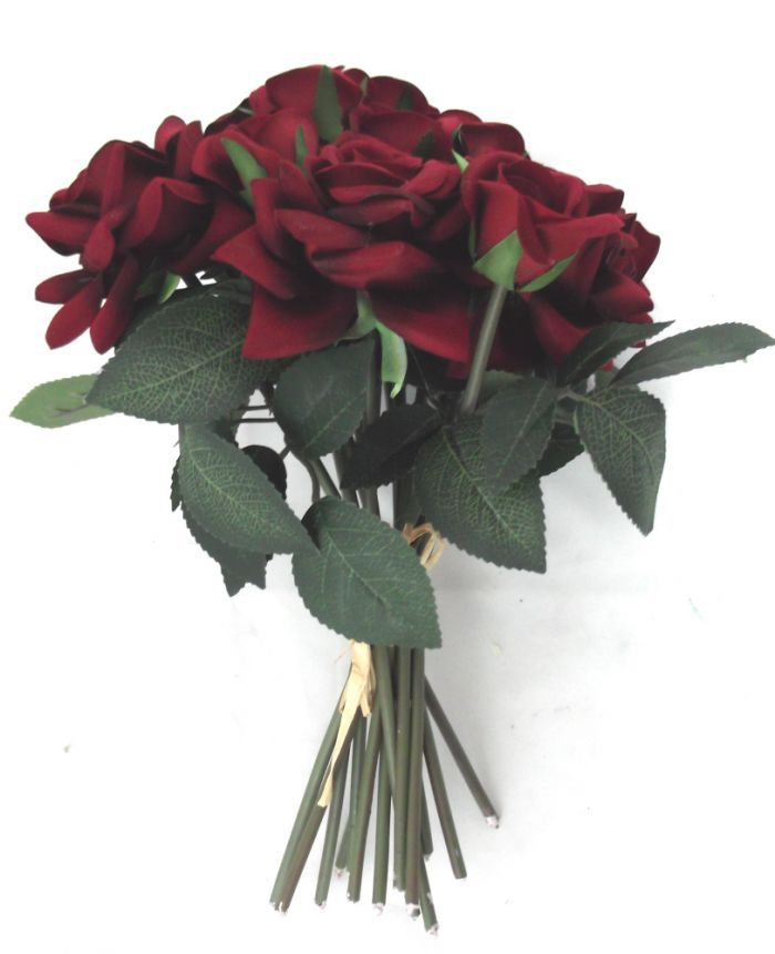 Artificial Supreme Silk Rose Hand Tie - 33cm Red