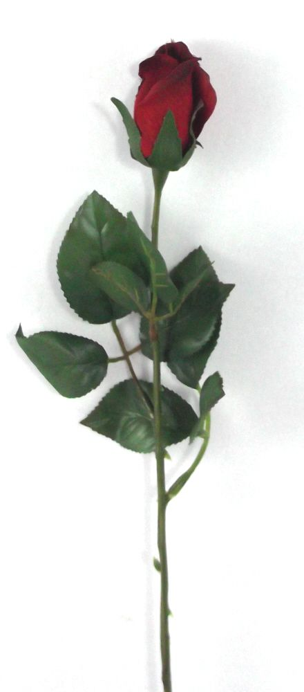 Artificial Silk Rose Single Stem - 56cm, Red (showing long stem)