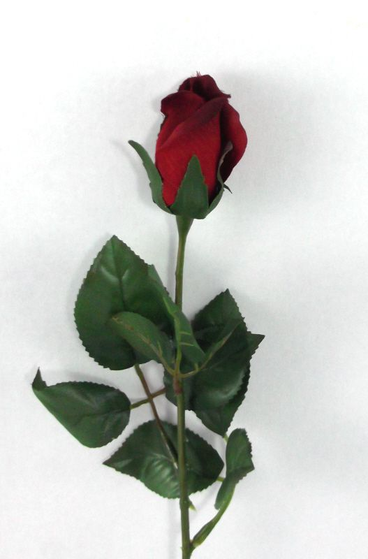Artificial Silk Rose Single Stem - 56cm, Red