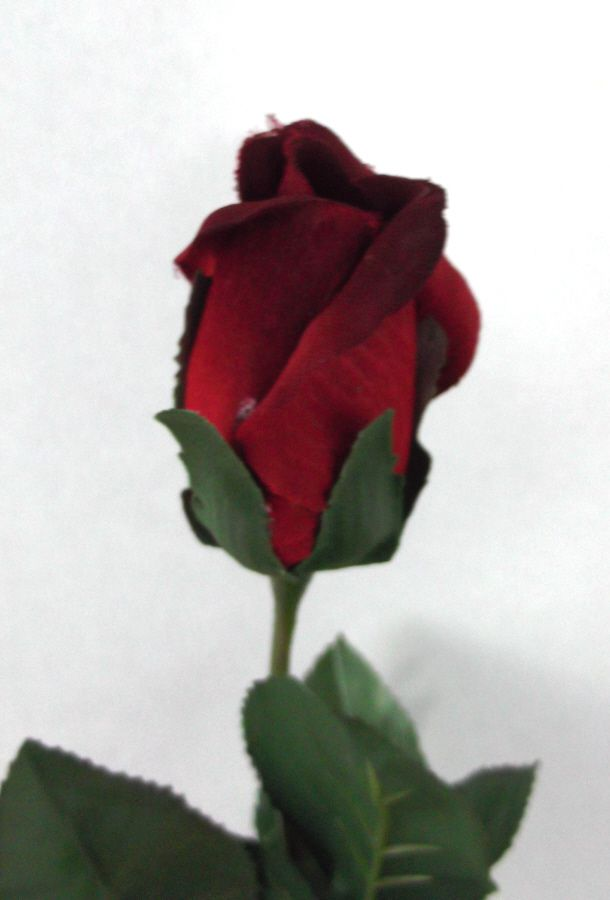 Artificial Silk Rose Single Stem - 56cm, Red (close up of Rose head)