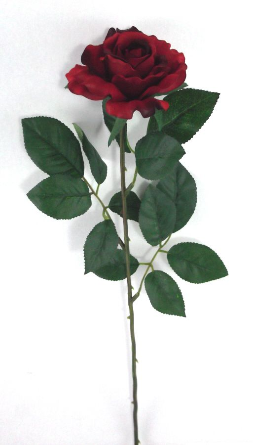 Artificial Silk Medium Rose Single Stem - 65cm, Red (showing long stems)