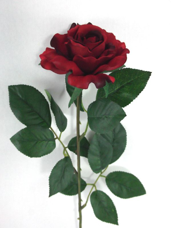 Artificial Silk Medium Rose Single Stem - 65cm, Red
