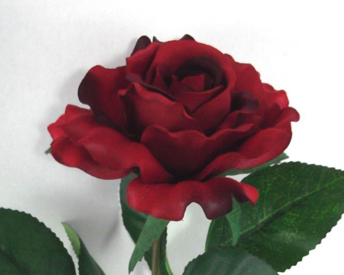 Artificial Silk Medium Rose Single Stem - 65cm, Red (close up of Rose Head)