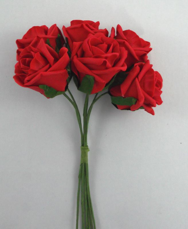 Artificial Colourfast Rose Bud Bunch - 21cm RED