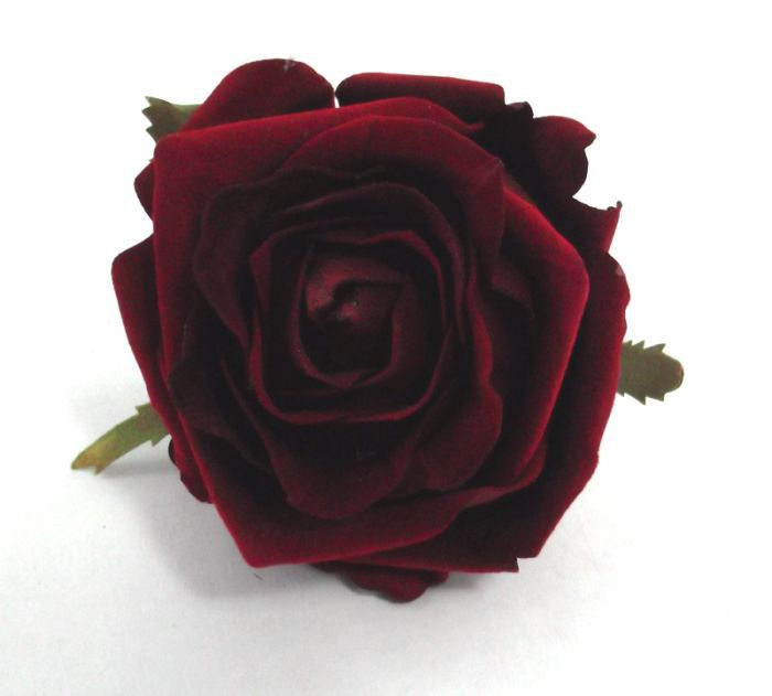 Artificial Velvet Amore Rose Head Large - 8cm Red (view from Top of Rose Head)