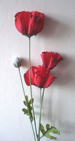 Artificial Small Silk Poppy Single Stem Just Artificial