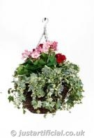 Geranium Hanging Basket - Image Caption: Artificial Geranium Hanging Basket close up