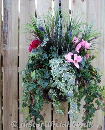 Flowers For Hanging Baskets In Winter : Artificial foliage medium winter hanging basket just