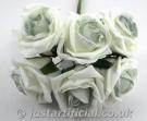 Cottage Rose Bud Bunch - Image Caption: Artificial Colourfast Rose Bud Bunch - 21cm, Ivory with Sage