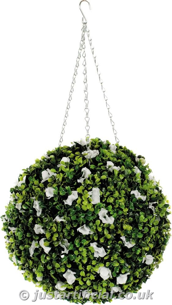 Artificial dogwood topiary ball with white flowers cm