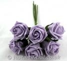 Cottage Rose Bud Bunch - Image Caption: our artificial Cottage Rose Bud Bunch in Ice Lilac colour