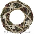 Natural Birch Wreath with Stars - Image Caption: showing our Artificial Natural Birch with Stars