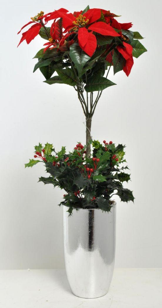 Artificial red poinsettia tree arrangement in a viet