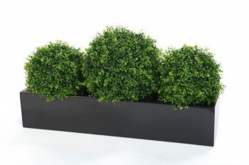 Artificial Boxwood Balls in Trough