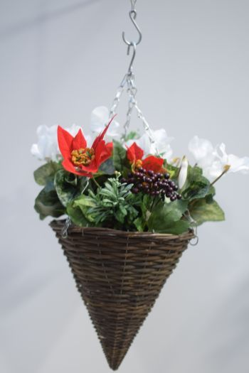 Poinsettia Cyclamen Hanging Basket
