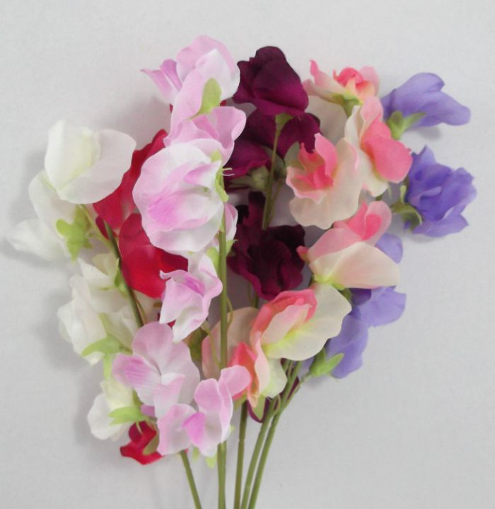 Artificial Silk Sweet Pea Bundle - 40cm, Mixed Colours, Bunch of 6 stems