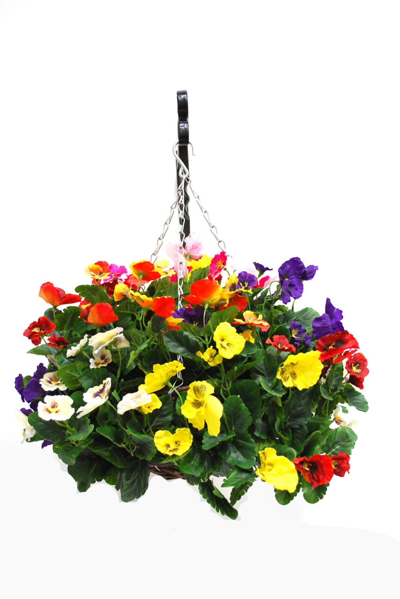 Artificial Silk Pansy Ball Hanging Basket Just Artificial